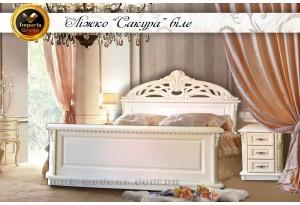 """Белая кровать """"SAKURA"""" из массива дерева дуб"""